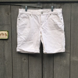 LOFT Lightly Distressed Jean Shorts in White
